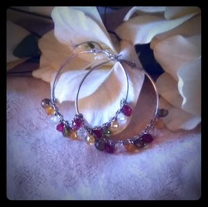 Vintage Multi-color Faceted Beads Hoop Earrings
